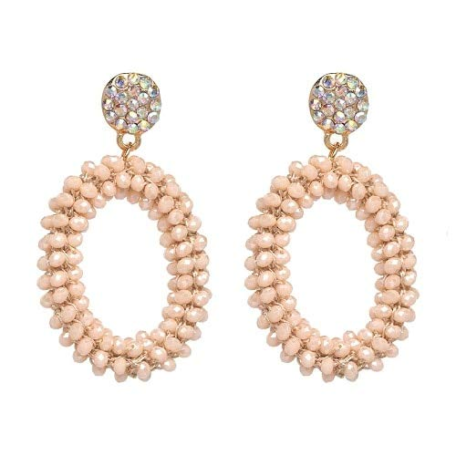 JIANYUXIN Orecchini Orecchini Pendenti Ovali da Donna Gioielli in Cristallo con Perline Fatti A Mano