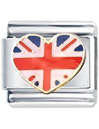 Diseño de la bandera de la unión del esmalte encanto italiano - nombramientos para pulsera clásica - (Exclusiva de Amazon)