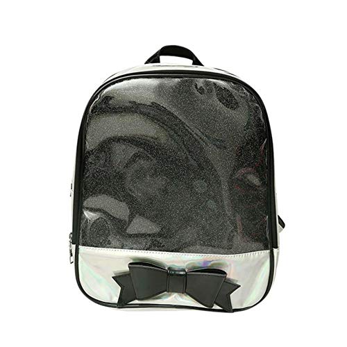 Fetter Mashroom freier transparenter Frauen-Rucksack-Nette Bogen-Beutel für Schule-Minirosa-Schultaschen für Jugendmode-Bookbag, schwarz