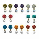 Nisa Pearls Multi colour Earring Combo f...