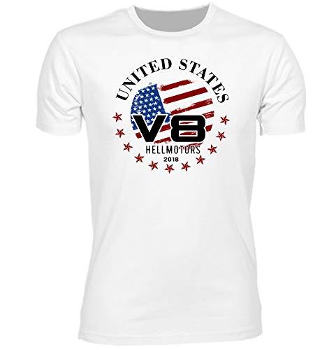 HELLMOTORS V8 T-Shirt United States weiß US Car USA Flagge Oldschool Hotrod (M, Weiß)