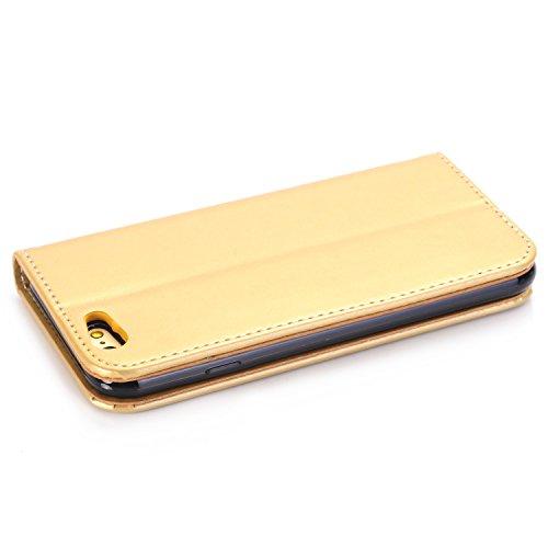 EKINHUI Case Cover Rose Blumen geprägtes Muster Premium PU Leder Geldbörse Fall, Folio Flip Stand Case Cover mit Halter & Card Slots & Magnetverschluss für iPhone 6 & 6s ( Color : Red ) Gold