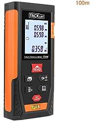 Tacklife HD 100m Classique Télémètre Laser Numérique Mètre Laser Calcule Distance Surface Volume Pythagore pour Bricolage avec Fonction Muet -Idéal Cadeau pour La Fête des Pères