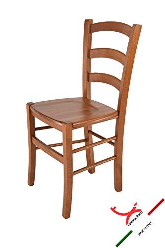 Tommychairs - sedia modello venice per cucina e sala da pranzo, con robusta struttura in legno di faggio verniciata color ciliegio e con seduta in legno massello