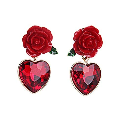 18K vergoldet Vintage Simuliert Ruby Herzen & Rot Rose Blume, Frauen Mädchen baumeln Drop Ohrringe (Gold Rubin Ohrringe Rose)