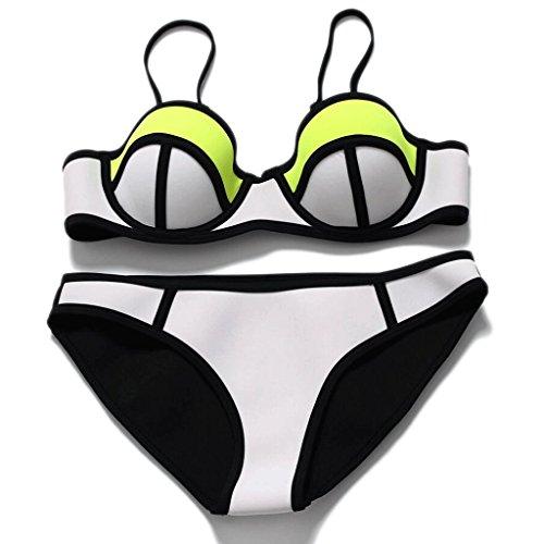 PRIDE S Mode Badeanzug gemischte Farben Neopren Stahl Pflege sammeln zusammen Split Bikini Spa Badeanzug Strand Bademode Weiß