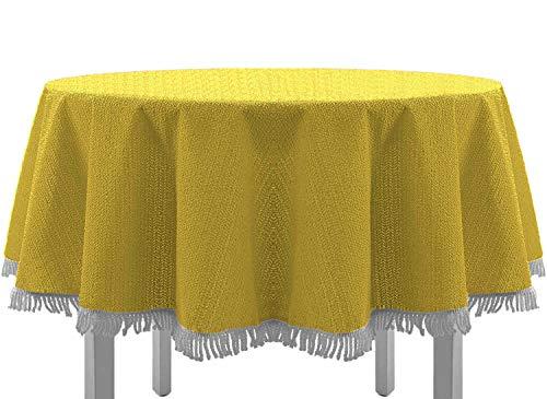 Gartentischdecke mit Fransen Tischdecke rund oval eckig Classic 160 cm rund gelb ()
