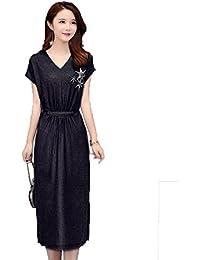 JRhong Eleganti Lunghi Abito Collo V Abiti Unicolor Vestiti Stampate  Abbigliamento Femminile 4485b8bccd6