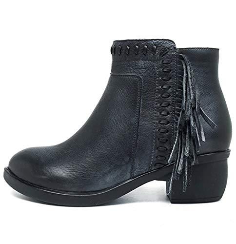 (SERAPH Damen Mitte Blockabsatz Quaste Ankle Boots Western Cowboy Booties Größe 36-42,Blue,EU41)