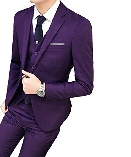 Costume homme Un Boutons Mode Slim fit Trois Pièces Elégant Business Mariage Violet