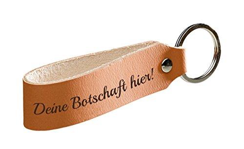 Schlüsselanhänger aus Leder mit individueller Gravur zum selbst gestalten (echtes Leder, personalisierbarer Text, Wunschgravur, inklusive Schlüsselring, Geschenkidee)
