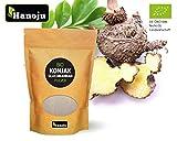 Hanoju Bio Konjakmehl Glucomannan Pulver, Konjakwurzel, Teufelszunge zum Abnehmen und Appetitzügler, in Deutschland abgefüllt und zertifiziert, Gewichte:300 g