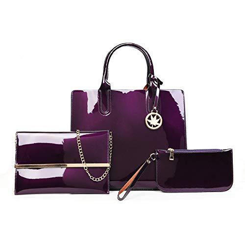 Bedolio Lackleder Handtasche hell Leder Kind Tasche Umhängetasche Umhängetasche Frau Tasche dreiteiligen Anzug (Größe: 27cm * 13cm * 32cm), lila - Kunden-id-nummer
