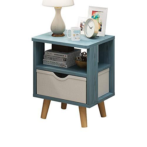 ReedG Schlafzimmer Nacht Stand Nordic Minimalistischen Massivholzbeinen Multifunktionale Schlafzimmer Schubladenschrank Stoff Einzelne Schublade (Farbe : Blau, Größe : 37x31x45cm)