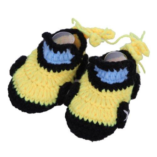 Smile YKK Gestrickte Baby Schuhe Krabbelschuhe flauschige Länge 11 cm Sonnenblume Pink Auto Gelb S