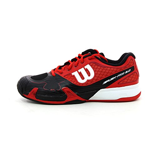 Wilson Rush Pro, Baskets Basses Homme Noir/Rouge