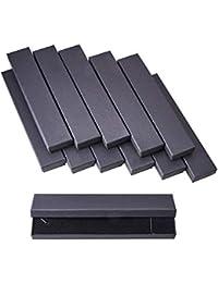 NBEADS 12pcs Caja de Regalo de la joyería de cartón rectángulo Largo para encantos del Collar Pulseras, Negro,…
