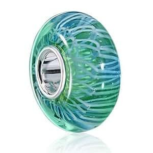 Materia Perle en verre de Murano, bleu turquoise-Perle en verre de Murano élégant avec gaine en argent 925massif #1282