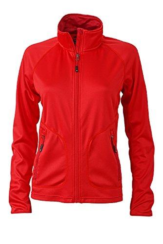 JAMES & NICHOLSON Femme Veste bi-élastique sportive, coupe ajustée rouge-clair/chili