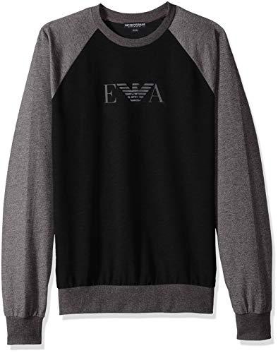 Emporio Armani Herren Men's Melange Mix Terry Sweater Pullover, schwarz, Mittel