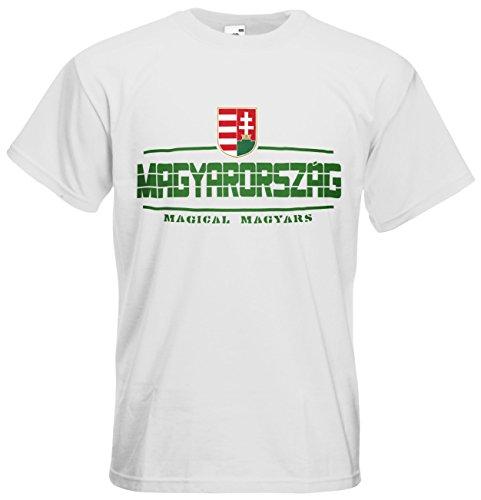 AkyTEX Ungarn Magyarország EM 2016 Fanshirt T-Shirt Trikot (Weiß, XXL)