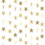 130 Piedi Glitter Dorato Stelle Ghirlanda di Carta Decorazione da Appendere per Matrimonio Compleanno Natale Festival Festa (Oro Champagne, Set di A)