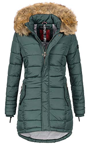 Navahoo Papaya Damen Winter Jacke Steppjacke Mantel Parka gesteppt warm B374 (L, Forest Green)