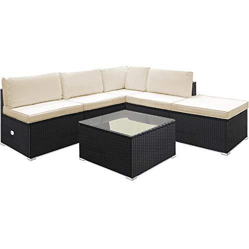 Deuba Poly Rattan Aluminium Lounge Set Schwarz   wetterbeständiges Alu-Gestell   Einzelelemente flexibel kombinierbar   UV-beständiges Polyrattan   Sitzgarnitur Couch Sitzgruppe kaufen  Bild 1*
