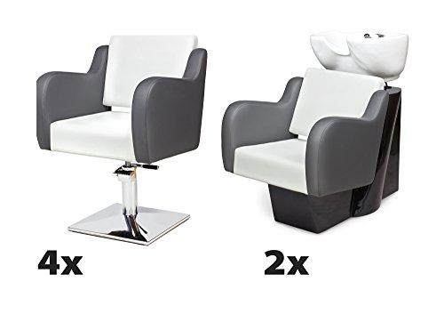 Kit mobili per parrucchieri nuvola 4 x poltrona parrucchiere + 2 x lavaggio parrucchiere 100 colori tappezzeria