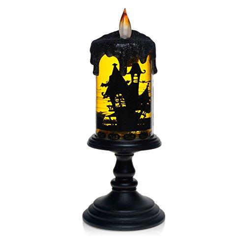 Halloween Betrieb Kostüm (Dekorative Leuchte Halloween-Lampe, Home Impressions, Alle Heiligen Lampe Halloween Lichter Laterne führte, für besondere Festival-Tag Dekoration und Geschenke, mit Glitzer-Tornados Spin-Technologie LED-Beleuchtung, Batterie betrieben, Flameless Kerze in Bat, 4x10)