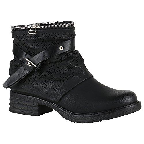 Gefütterte Damen Biker Boots Prints Stiefeletten Zipper Schuhe 148941 Schwarz Muster Zipper 36 | Flandell® (Out Of Print Kostüm Muster)