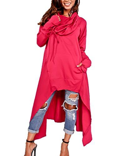 Junshan Kapuzenpullover Pullover Damen Lang Strick Oversize Langarm Pullikleid Longshirt Top 36-48 10 Farbe 7 Größe (Rot, 48) (Gap Langarm-bluse)