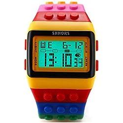 SHHORS Reloj LED, Colores del Arcoiris, Creativo, Pulsera de Silicona, LCD, Deportivo, Pulsera Grande-Hombre Mujer y niño - LED091