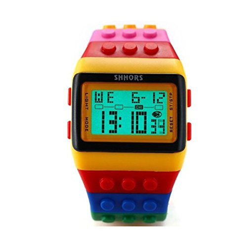 SHHORS Reloj LED, Colores del Arcoiris, Creativo, Pulsera de Silicona, LCD, Deportivo, Pulsera Grande-Hombre...
