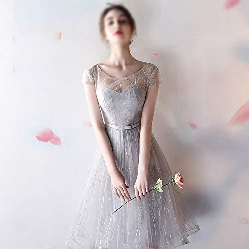 ZSRHH-Kleid Frauenkleid Abendkleid Abendkleid Womens Sleeveless Mesh Sexy A-Linie Brautjungfernkleid (Farbe : Gray-B, Size : XXL) -
