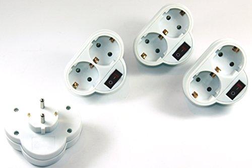 2-fach Steckdose mit Schalter Adapter 2fach Mehrsteckdose Multistecker Adapterstecker Schutzkontakt 558 (3 Stück)