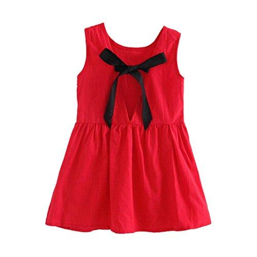 nzessin Kleid Kinder Party Hochzeit Ärmellos Rock (130cm, Rot) (Kinder-halloween-aktivitäten Blatt)