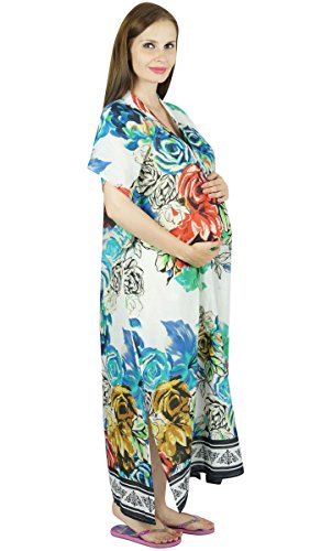 Nursing Bimba Maternity Hospital Kaftan Ceinture Robe de Nuit, Front & Back Buttons Blanc