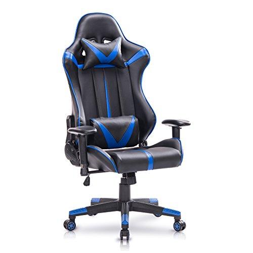 WOLTU® Racing Stuhl Gaming Stuhl Bürostuhl Schreibtischstuhl Sportsitz mit Armlehne, mit Kopfstütze und Lendenkissen, höhenverstellbar, dick gepolsterte Sitzfläche aus Kunstleder, Blau, BS13bl