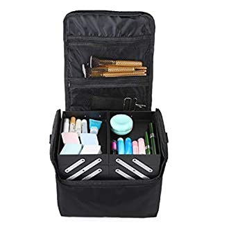 Hotrose Large Space Makeup Case Jewellery Box with Shoulder Strap (Black)