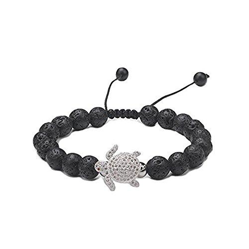 (CheersLife Heilung Lava Steine Armband Damen,8mm natürlich Armreif Yoga Armband Mama Balance Armband,Geschenke zum Muttertag,Armband 6-8inch)