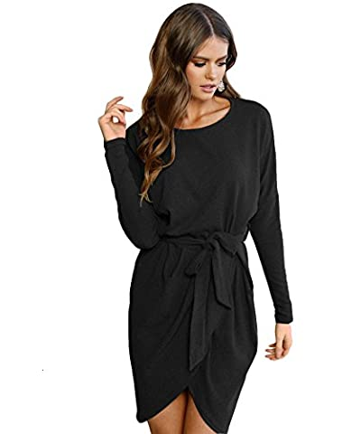 Zhaoyun Damen Rundhals Kleid beiläufige lange Hülse mit Gurt Minikleid T-Shirt Kleid Schwarz-M