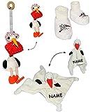 alles-meine.de GmbH 4 TLG. Set _ Schmusetuch / Schnuffeltuch und Babyschuhe + Feder Hüpfer -  Storch mit Baby  - incl. Name - Schuhe 3 bis 9 Monate - leicht anzuziehen - Plüsch..