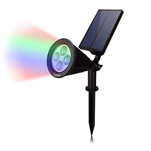 Leeron Luce Solare Faretto Ricaricabile con 4 LED di Colore di Luce Regolabili Automaticamente Impermeabile IP65 per Parete, Giardino, Prato, Cortile, Muro, Scale