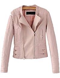 1dde8dd70c Pteng Damen Freizeit Fliegerjacke Leder Jacke Cool Coat Langarm Winddicht  Outwear Frauen Stylisch…