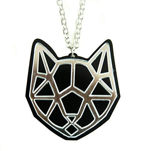 Halskette mit geometrischem Katzenkopf-Anhänger in Geschenkverpackung, silberner Spiegel, Schwarz (Verrückte Weihnachten Kostüm Idee)