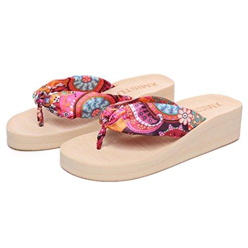 SHANGXIAN Plage des femmes flip-flops Sandales compensées Beige