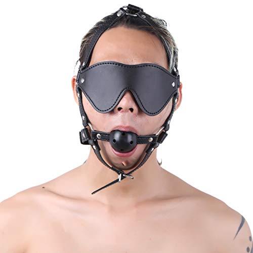 Agoky Unisex Verstellbar Kunstleder Kopfharness mit Ball Gag Atmungsaktiv Knebel Mundknebel Brille Design Augenbinde für Damen und Herren Schwarz One Size
