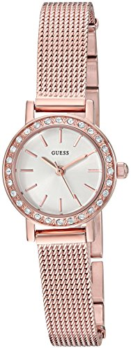 GUESS Women's Stainless Steel Crystal Mesh Bracelet Watch, Color Rose Gold-Tone (Model: U0954L3) (Guess Rose Gold Watch)