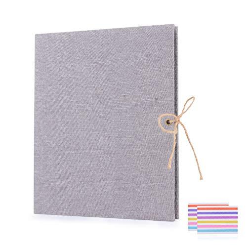 EKKONG DIY Scrapbook Fotoalbum,Fotoalbum zum Selbstgestalten,Leinen Nachfüllbar Fotobuch Retro Gästebuch Stammbuch (Grau)